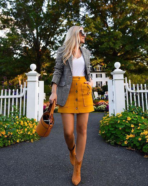 skirt boots mini skirt blazer