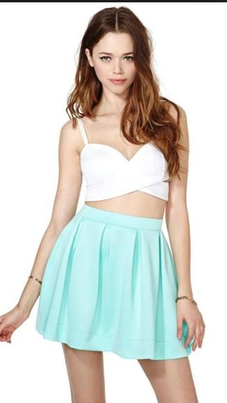 mint skirt mint green skirt skater skirt mini skirt