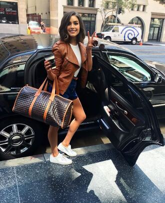 top shorts instagram olivia culpo sneakers purse bag jacket