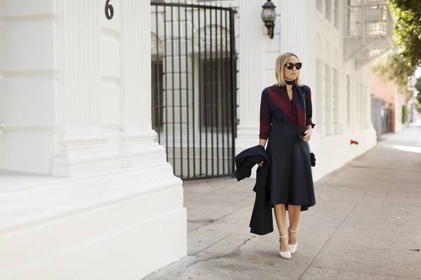 damsel in dior blogger blouse coat skirt shoes