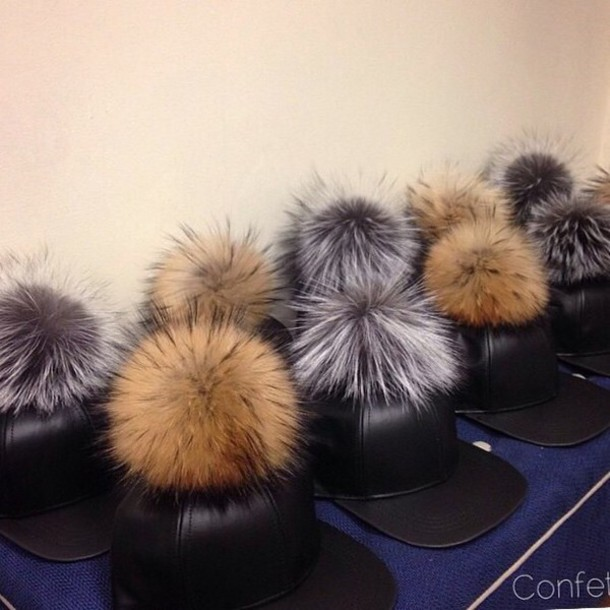 hat fur pompom hat pom pom beanie fluffy winter swag chic style urban