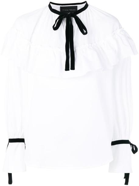 Christian Pellizzari - ruffled pussy bow blouse - women - Cotton - 44, White, Cotton