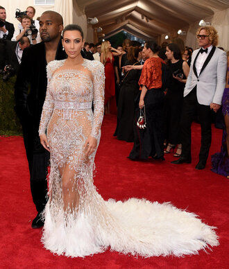 dress gown lace feathers kim kardashian met gala wedding dress red carpet dress beaded dress metgala2015