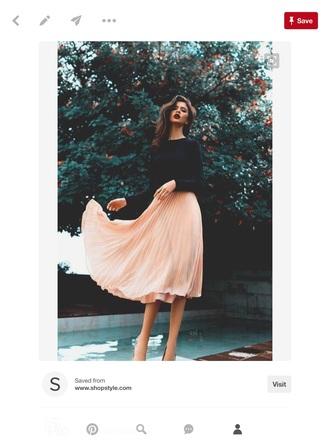 dress pleated skirt pink skirt black top