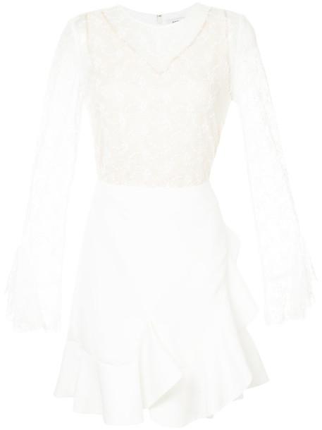 GOEN.J dress wrap dress ruffle women white cotton