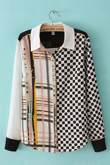 Geometric Polka Dot Printed Chiffon Shirt [FDBI00333] - PersunMall.com