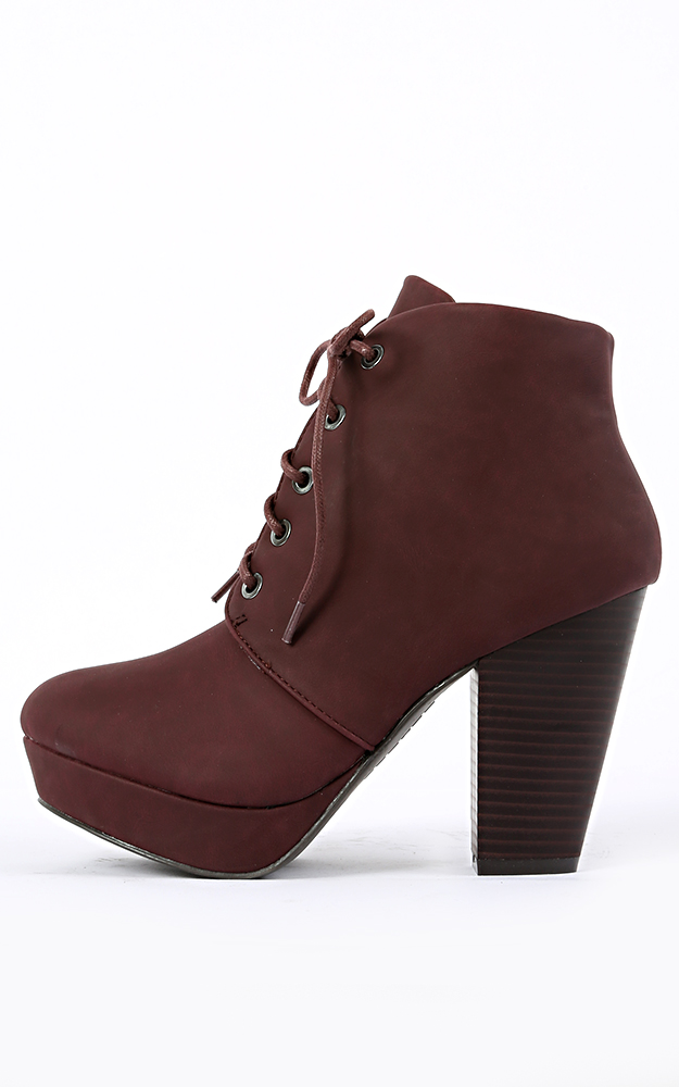 01 lace up chunky heel booties