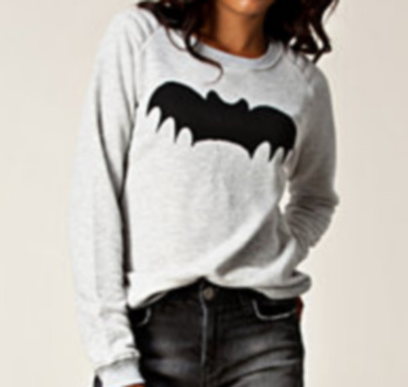 batman sweater grey bat cute