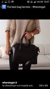 bag,black bag,fur,fluffy,leather,handbag