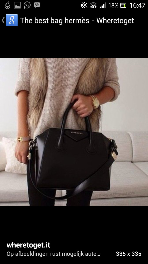 bag black bag fur fluffy leather handbag handbag