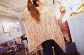 sweater,multicolor,rainbow,pullover,kfashion,kawaii