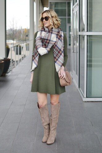 straight a style blogger shoes bag dress scarf sunglasses green dress mini dress knee high boots tartan scarf shoulder bag nude bag