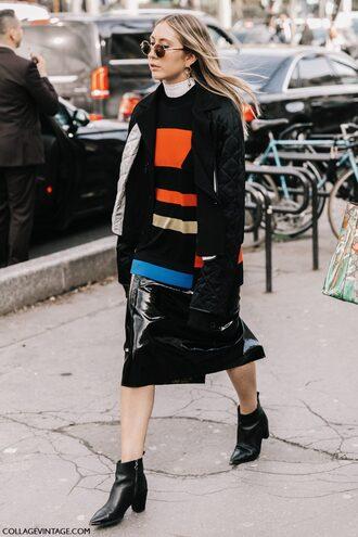 skirt tumblr black skirt leather skirt vinyl vinyl skirt midi skirt sweater stripes striped sweater jacket black jacket round sunglasses sunglasses boots black boots ankle boots streetstyle paris fashion week 2017 fashion week fashion week 2017