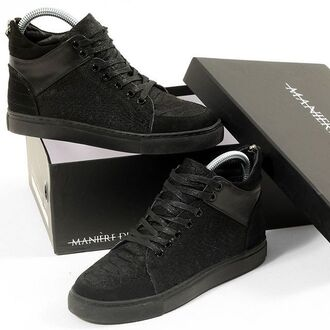 shoes maniere de voir women sneakers trainers black snake embossed pony fur fur hair suede leather virtue
