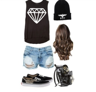 shoes clothes diamonds boy london vans studded jeans short shorts bag blouse