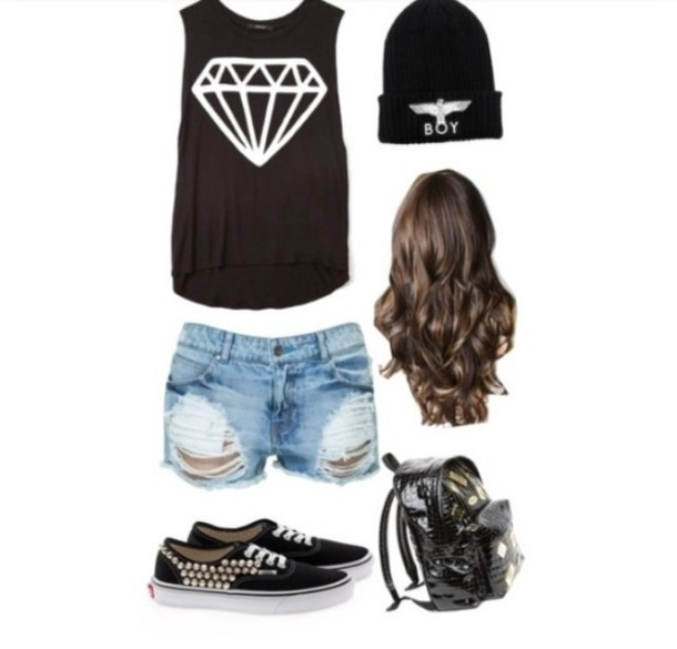 a7cbf85d60 shoes clothes diamonds boy london vans studded jeans short shorts bag blouse