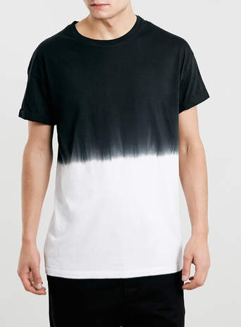 BLACK HALF N HALF T-SHIRT - New In- TOPMAN