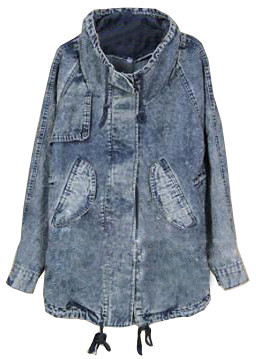 Denim draw parka