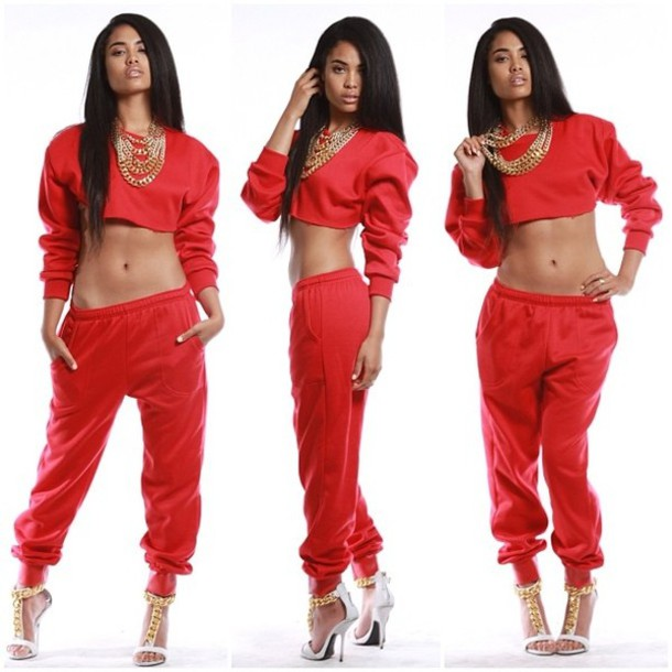 pants red sweatsuit crop style sorella