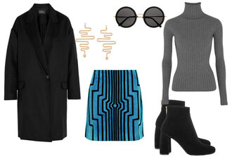 look de pernille blogger coat jewels skirt shoes sunglasses
