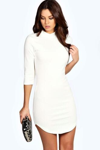 dress bodycon dress ivory dress ivory short dress boohoo dress