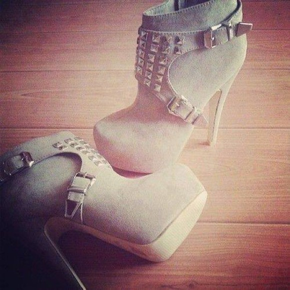 shoes grey shoes booties heels on gasoline heels studded shoes studs high heels