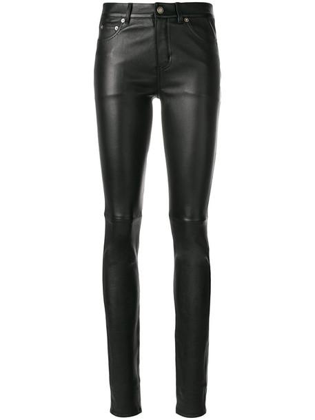 Saint Laurent women spandex leather cotton black pants