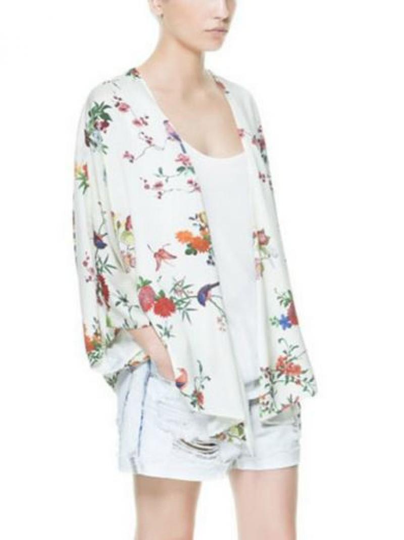 Vintage White Floral Kimono Coat