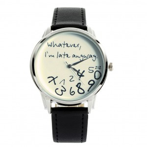 White on Black - 'Whatever, I'm late anyway' watch | ZIZ iz TIME