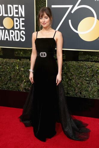 dress black dress long prom dress long dress dakota johnson golden globes 2018 red carpet dress