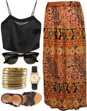 shoes,summer,gold,black,boho,boho dress,sunglasses,jewels,blouse,chiffon,cute,tribal pattern,skirt,watch,sandals,black sunglasses,crop tops,fashion,maxi skirt,top,multi color to black,multicolor,tiki,african print