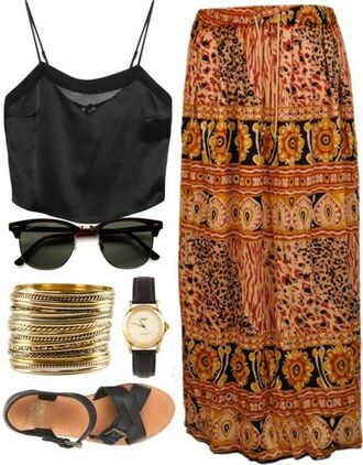 shoes summer gold black boho boho dress sunglasses jewels blouse chiffon cute tribal pattern skirt watch sandals black sunglasses crop tops fashion maxi skirt top multi color to black multicolor tiki african print