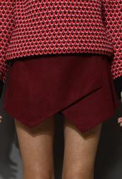 skirt,wine red,asymmetrical,wool felt,skorts