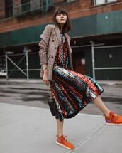 dress,striped dress,sequin dress,sneakers,midi dress,mini bag,check blazer