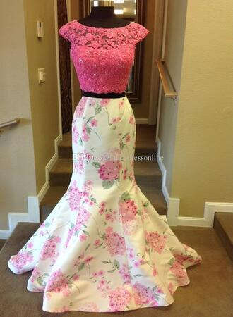 dress floral dress two pieces prom dress see through dress
