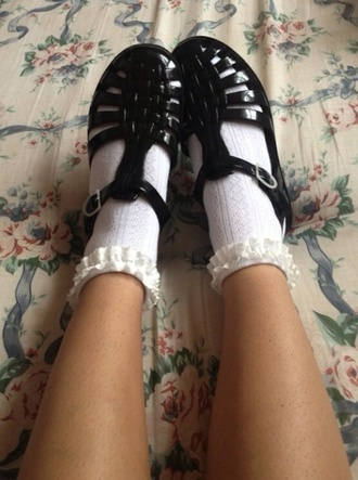shoes black jellies frilly socks