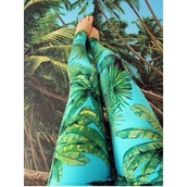 pants,printed leggings,tropical,palm tree print,light blue