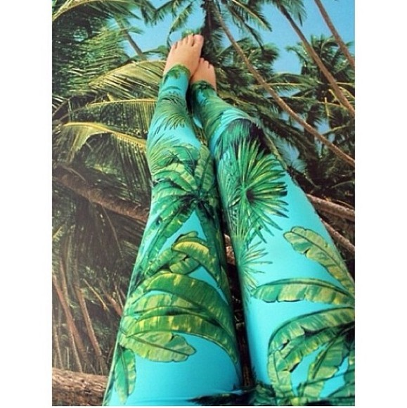 pants tropical tropical print leggings palm tree print light blue