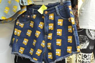 shorts androgyne manila high waisted shorts bart simpson bart sweater jeremy scott the simpsons england shirt head denim