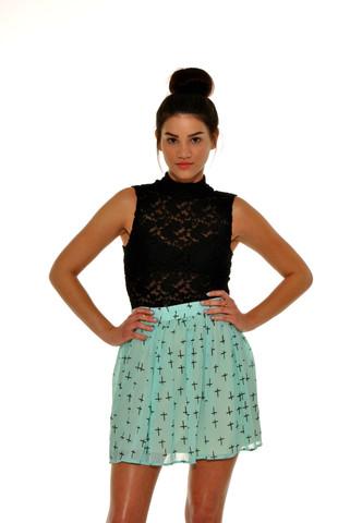 Cross Mint Skirt | Petite LA