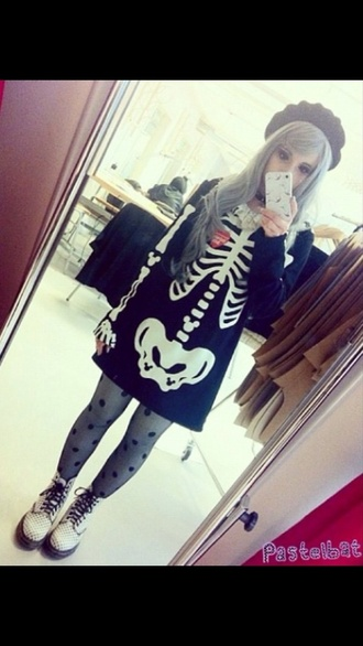sweater dress heart goth skeleton bones long sleeve dress pastel goth