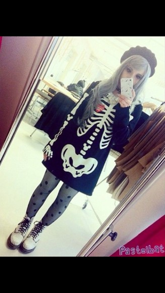 bones skeleton pastel goth sweater dress heart goth long sleeve dress