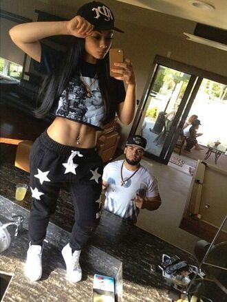 pants sweatpants stars black crop tops baggy pants