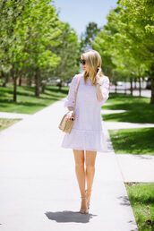 dress,tumblr,mini dress,lilac,lilac dress,lace dress,sandals,sandal heels,high heel sandals,bag,nude bag,sunglasses,ivory lane,blogger,shoes,jewels,make-up
