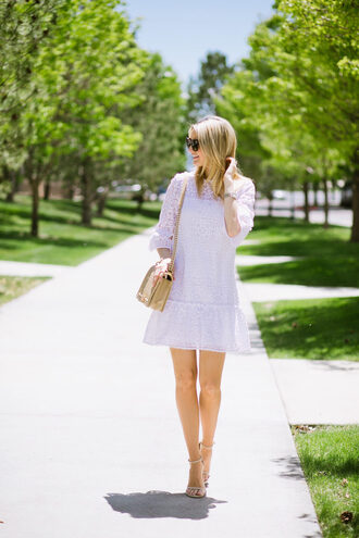 dress tumblr mini dress lilac lilac dress lace dress sandals sandal heels high heel sandals bag nude bag sunglasses ivory lane blogger shoes jewels make-up