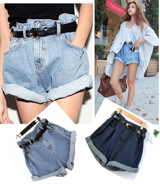 Women Girl High Waisted Oversize Crimping Boyfriend Jeans Shorts ...