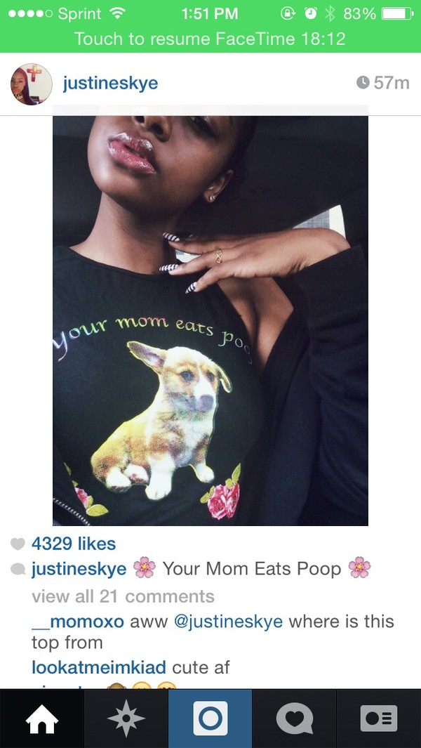 shirt your mom eats poop internet black rainbow puppy