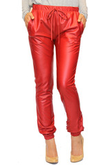 Tia trendy red leather joggers