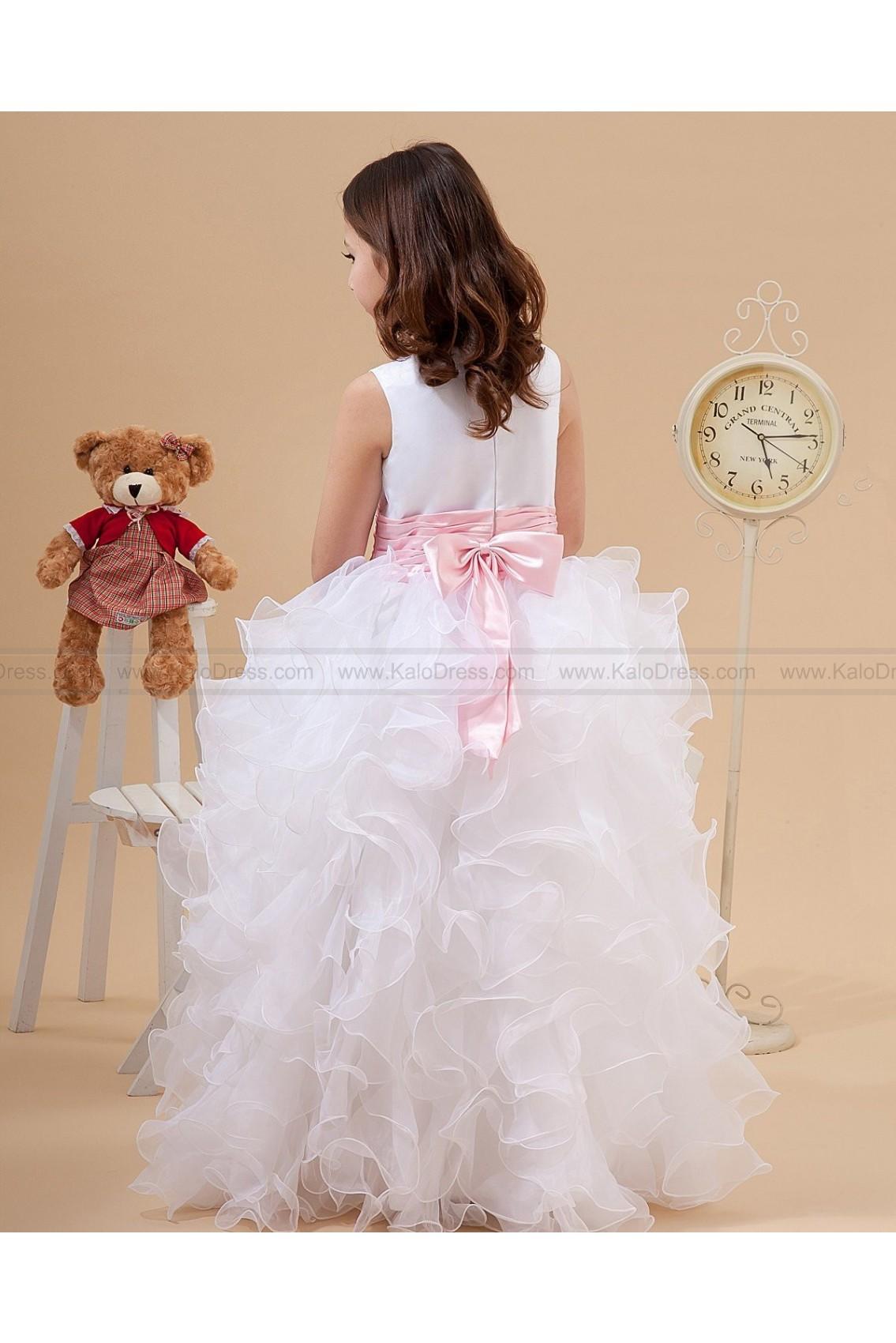 Multi Layers Hem Satin Organza Flower Girl Dresses - Flower Girl Dresses 2014 - Wedding Party Dresses
