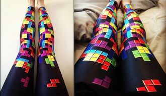 pants tetris leggings pattern video game colorful